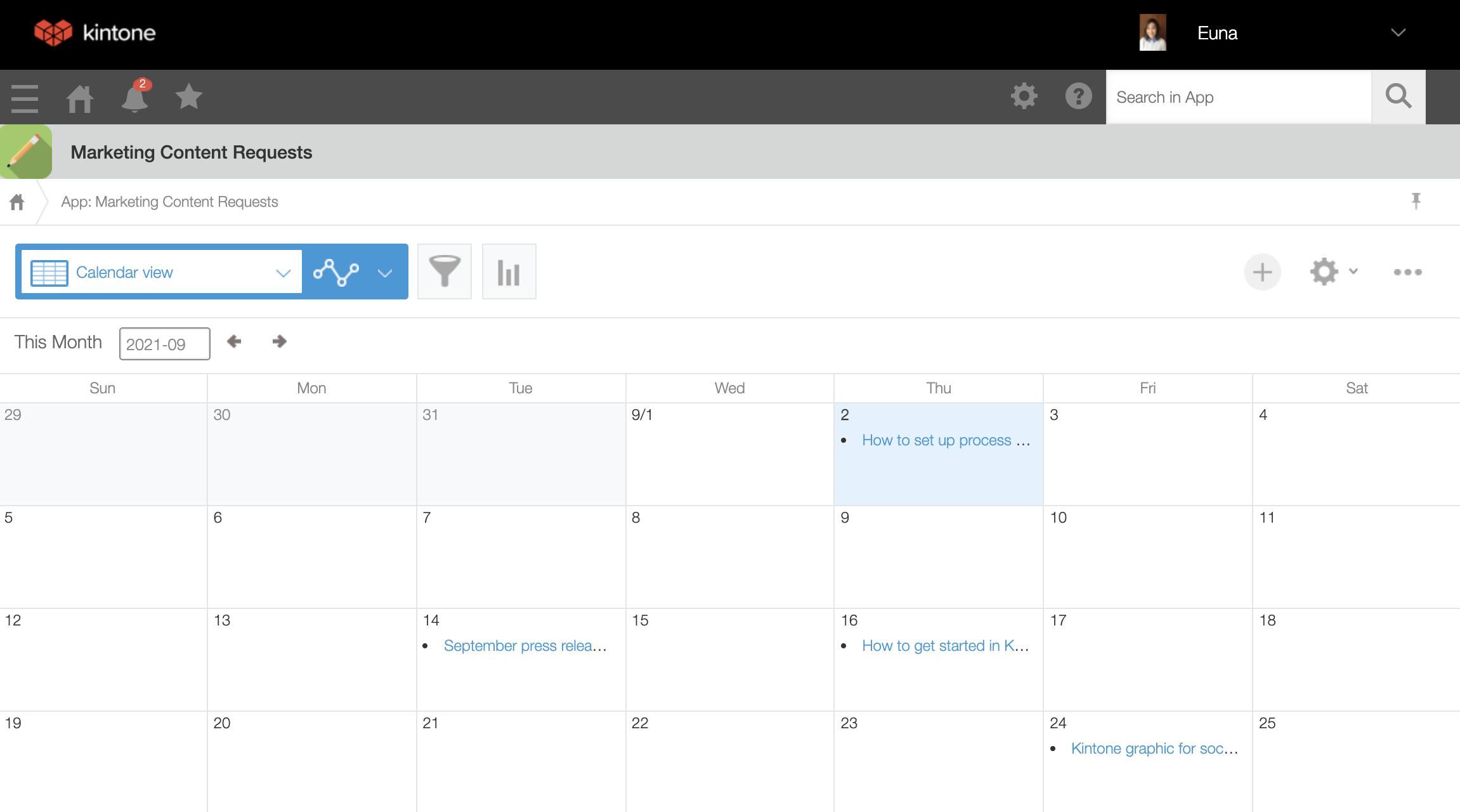 Content request - calendar view