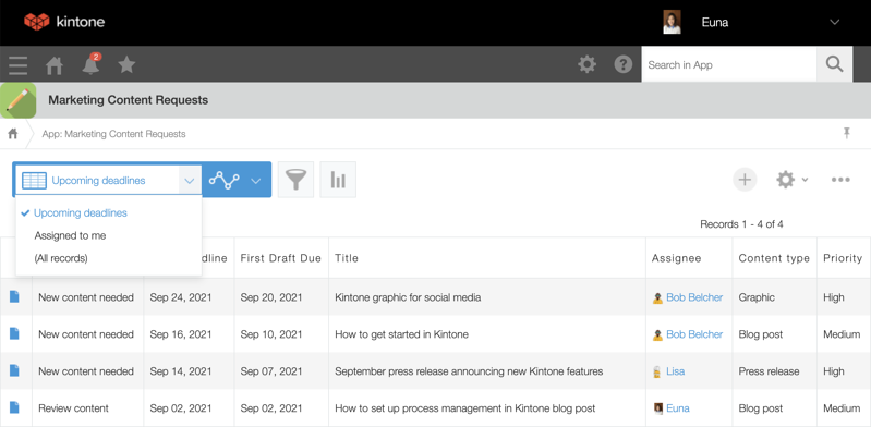 Content request list view - upcoming deadlines